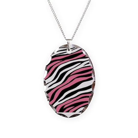 Zebra Print Mix Pink Necklace Oval Charm