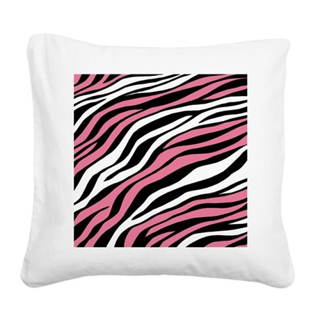 Zebra Print Mix Pink Square Canvas Pillow