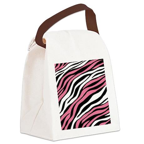 Zebra Print Mix Pink Canvas Lunch Bag