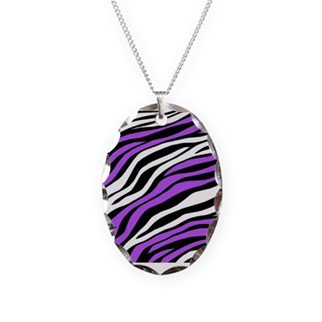 Zebra Print Mix Purple Necklace Oval Charm
