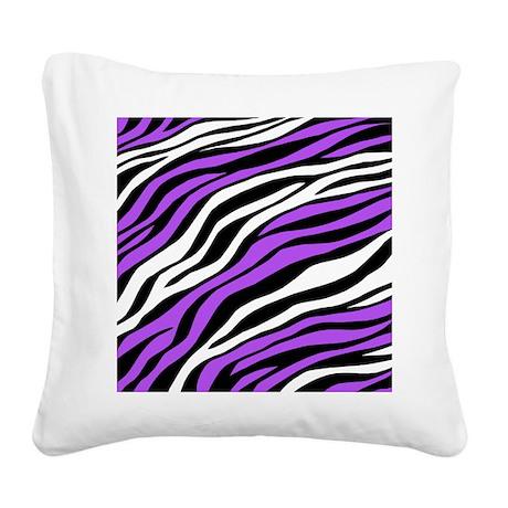 Zebra Print Mix Purple Square Canvas Pillow