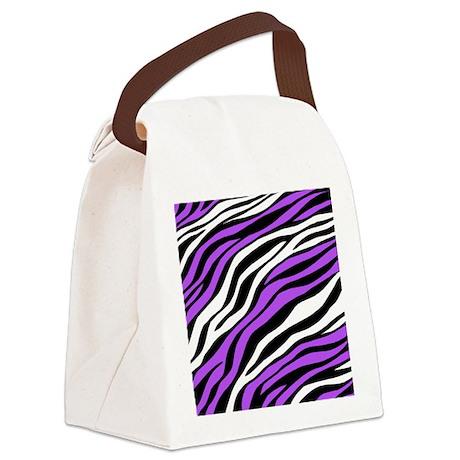 Zebra Print Mix Purple Canvas Lunch Bag