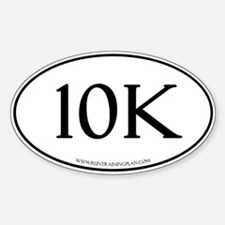 White 10K Run Training Plan Sticker (Oval)