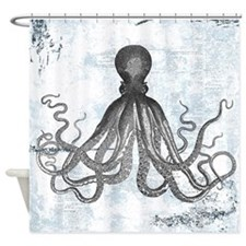 Grunge Octopus Shower Curtain