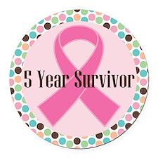 5 Year Breast Cancer Survivor Ribbon Round Car Mag