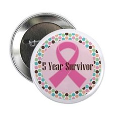 "5 Year Breast Cancer Survivor Ribbon 2.25"" Bu"