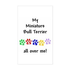 Miniature Bull Terrier Walks Rectangle Decal