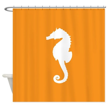 Orange seahorse shower curtain by inspirationzstore