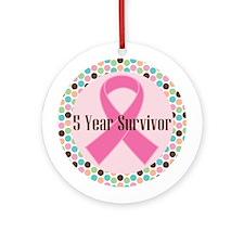 5 Year Breast Cancer Survivor Ribbon Ornament (Rou
