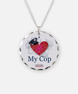 """I Love My Cop"" Shielded Hearts Necklace"