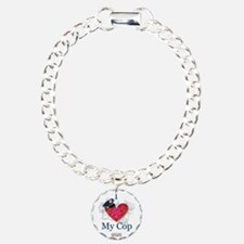 """I Love My Cop"" Shielded Hearts Bracelet"