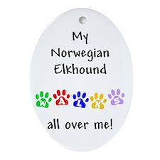 Norwegian Elkhound Walks Oval Ornament