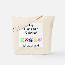 Norwegian Elkhound Walks Tote Bag