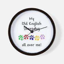 Old English Sheepdog Walks Wall Clock