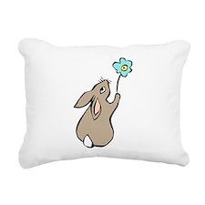 Bunny Blue Flower Rectangular Canvas Pillow