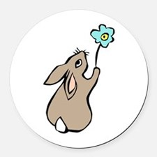 Bunny Blue Flower Round Car Magnet
