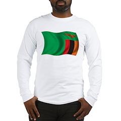 Wavy Zambia Flag Long Sleeve T-Shirt