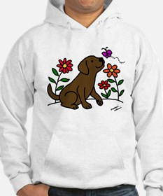 Chocolate Labrador and Green Hoodie