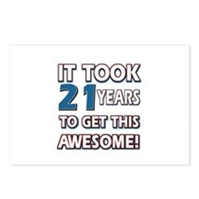 21 Year Old birthday gift ideas Postcards (Package