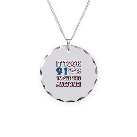 91 Year Old birthday gift ideas Necklace Circle Ch