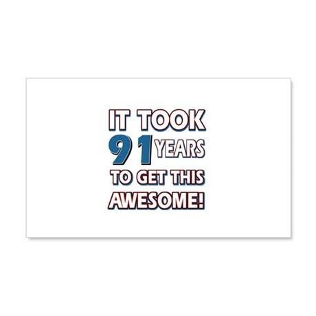 91 Year Old birthday gift ideas 20x12 Wall Decal