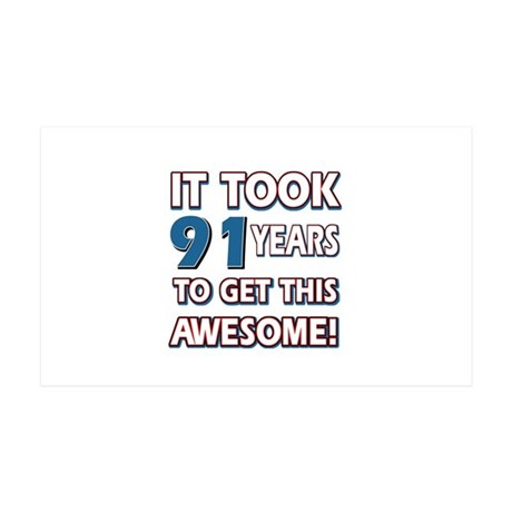 91 Year Old birthday gift ideas 35x21 Wall Decal
