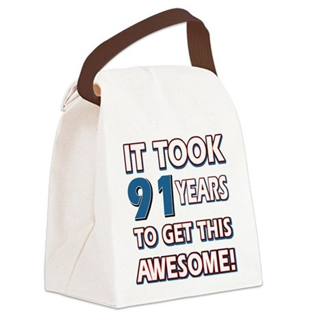 91 Year Old birthday gift ideas Canvas Lunch Bag