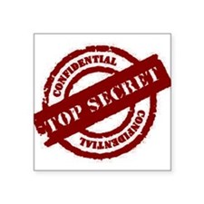Top Secret Red Rectangle Sticker