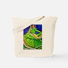 Woman in Green Dress Tote Bag