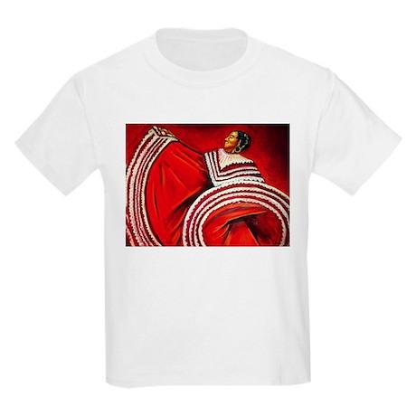 Woman in Red Dress Kids Light T-Shirt