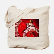 Woman in Red Dress Tote Bag