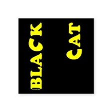 "Black Cat (yellow) Square Sticker 3"" x 3"""