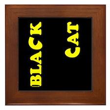 Black Cat (yellow) Framed Tile