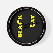 """Black Cat (yellow) 10"""" Wall Clock"""