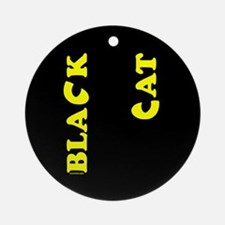Black Cat (yellow) Round Porcelain Ornament