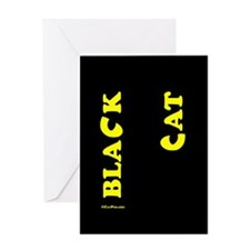 Black Cat (yellow) Greeting Card