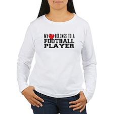 Heart Belongs to Football Womens Long Sleeve Shirt