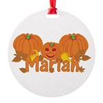 Halloween Pumpkin Mariah Round Ornament