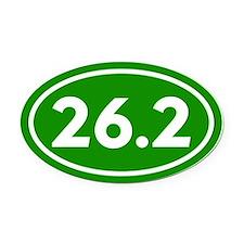 Green 26.2 Marathon Runner Oval Car Magnet