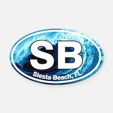 Siesta Beach.SB.wave.png Oval Car Magnet