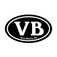 Vero Beach.VB.Windsor.black.png Oval Car Magnet