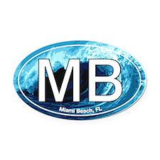 Miami Beach.MB.wave.jpg Oval Car Magnet