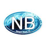 Newport beach Oval Car Magnets