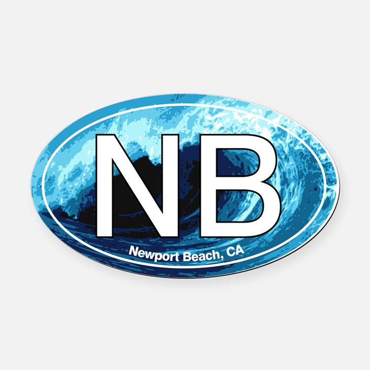 Newport Beach.NB.wave.jpg Oval Car Magnet