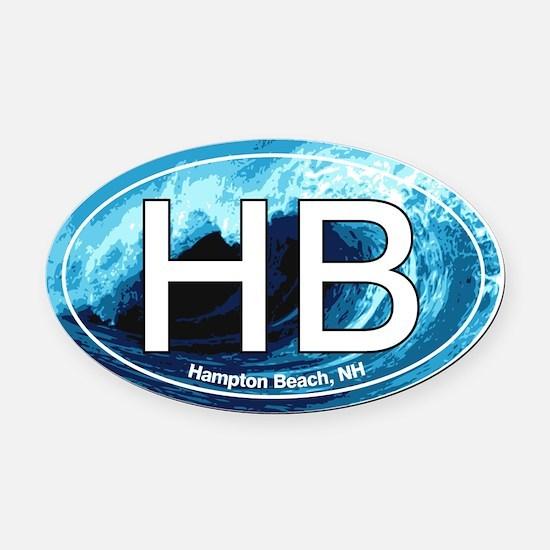 Hampton Beach.HB.wave.jpg Oval Car Magnet