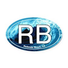 Redondo Beach.RB.wave.jpg Oval Car Magnet