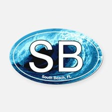 South Beach.SB.wave.jpg Oval Car Magnet