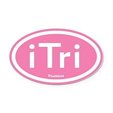 Pink iTri Triathlete Oval Car Magnet
