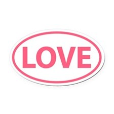 Pink LOVE Oval Oval Car Magnet