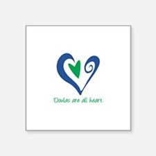 "DoulasAllHeartTorquoise150.png Square Sticker 3"" x"